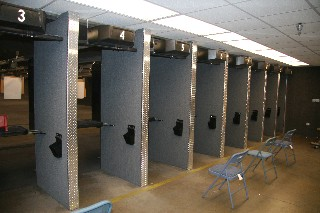 A color photograph of lanes at the shooting range.